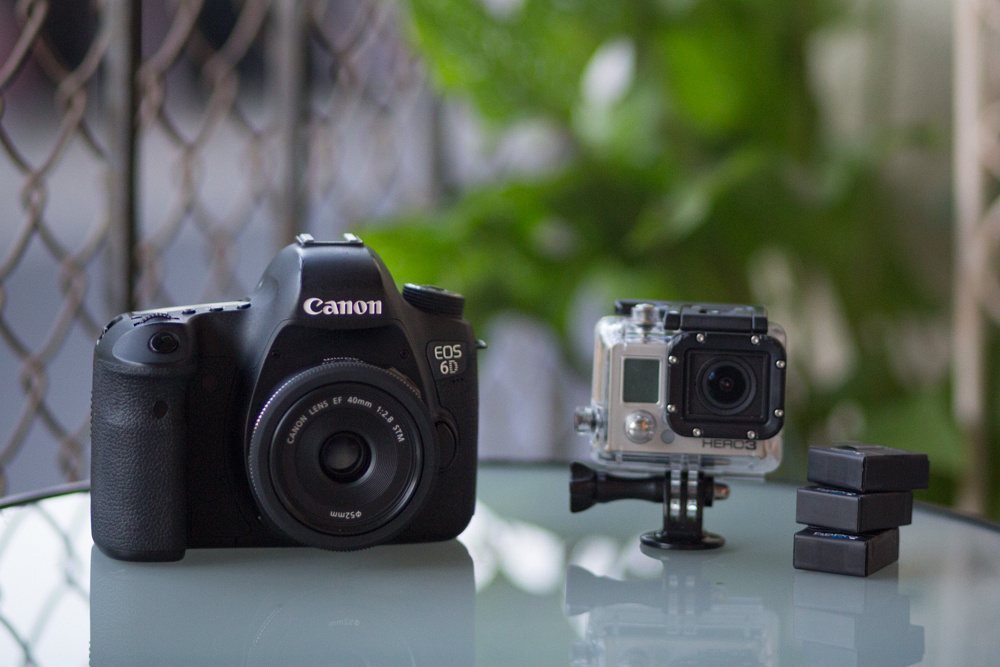 """Canon 6d with """"pancake"""" 40mm f/2.8 (AKA shorty forty) and GoPro Hero 3 Black Edition with 3 extra batteries"""